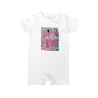 オエカキ_ Flamingo Baby rompers