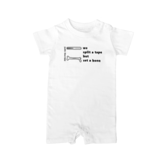 骨とテープ(黒文字) Baby rompers