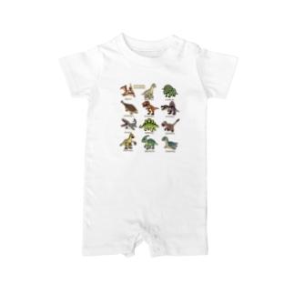 恐竜図鑑 Baby rompers