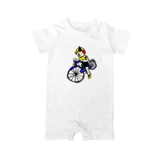 ウクちゃんと自転車 Baby rompers