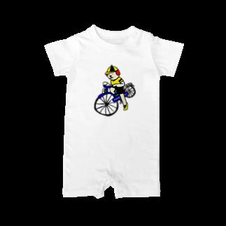 とんちピクルスのウクちゃんと自転車 Baby rompers