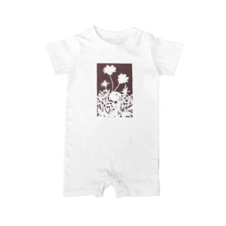 花咲く小径⑥あか Baby rompers