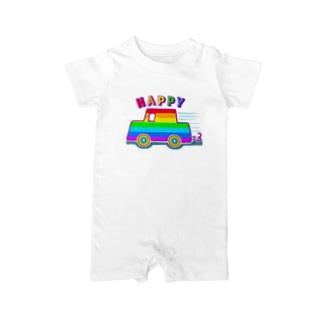 にじカー【虹色HAPPYレインボー】 Baby rompers