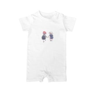 オリジナル 手を繋いで歩く幼い二人の女の子 Baby rompers