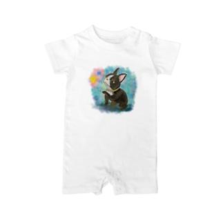 水彩イラストの昭和レトロ風フレンチブルドッグ Baby rompers
