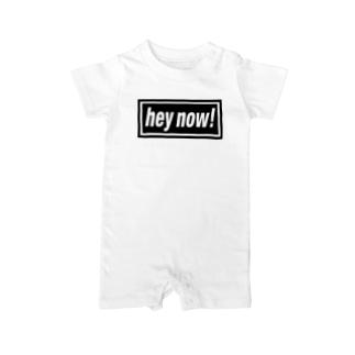 hey now!-ヘイナウ!-BOXロゴ Baby rompers