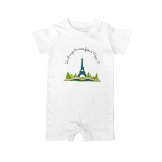 パリで何をするのが好き?エッフェル塔を遠くから見ることかな。 Baby rompers