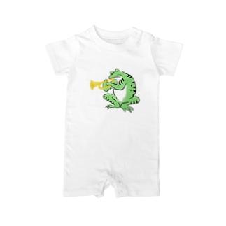 トランペットと蛙 Baby rompers
