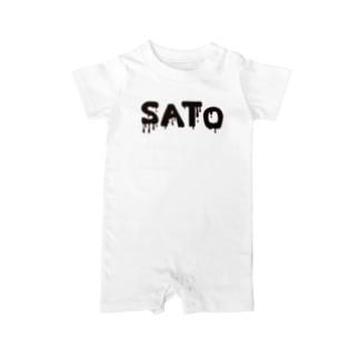 SATO vo.1 BLACK FONT  Baby rompers