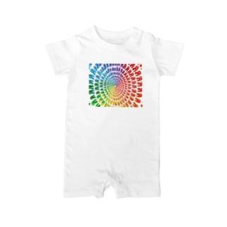 虹色うさちゃん放射 Baby rompers