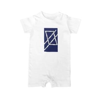 四角パターン3 Baby rompers