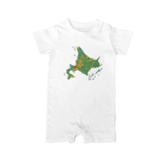 北海道179市町村地図 Baby rompers