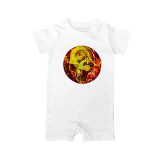 月光装身具ロゴコミカルスカル Baby rompers