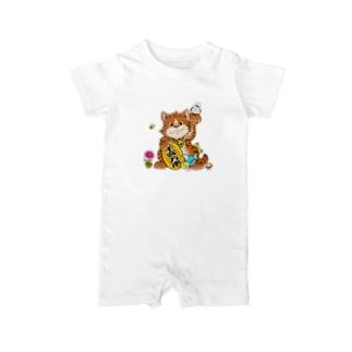 招きトラ猫 Baby rompers