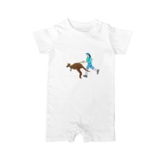 カンガルーとジョギングする人 Baby rompers