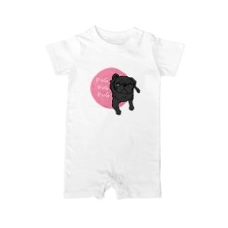 PUGPUGPUG 黒パグ✖️ピンク Baby rompers