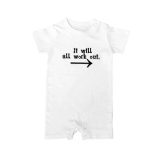 全て何とかなるさっ!!メッセーージTシャツ! Baby rompers
