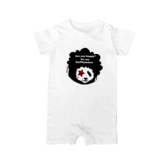 あっ!アフロパンダda!フェイスのみTシャツ Baby rompers