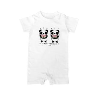 キッズサイズ*CT168 TWIN PANDAS 一緒のスイカ Baby Rompers