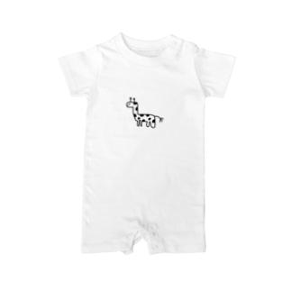 動物と愉快な人々たちのキリンチャレンジ Baby Rompers