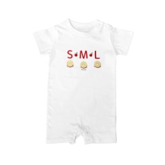 *suzuriDeMONYAAT*のML002 SMLTシャツのりんごすたぁ*輪切りのリンゴ Baby rompers