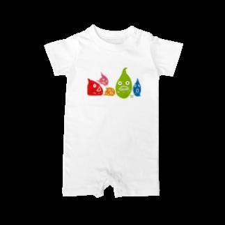 ウチダヒロコ online storeの横並びダンゴウオ Baby rompers