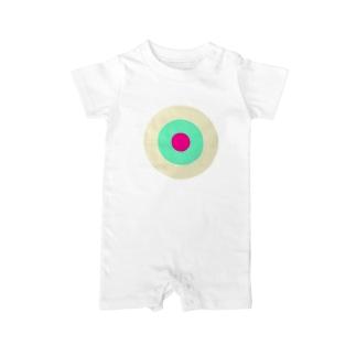 サークルa・クリーム・ペパーミント・ショッキングピンク2 Baby Rompers