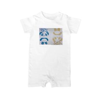 イエローパンダ&ブルーパンダ Baby rompers