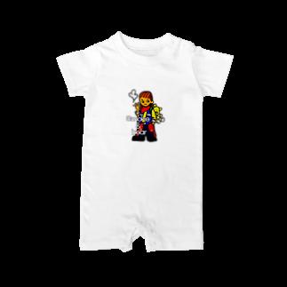 オリジナルデザインTシャツ SMOKIN'のクマを背負ったボヘミアンB Baby rompers
