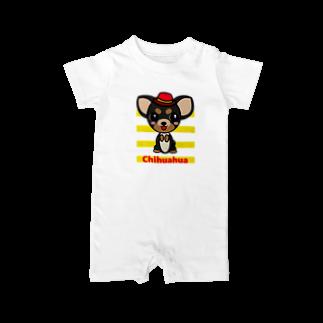 オリジナルデザインTシャツ SMOKIN'のちんちんチワワ Baby rompers
