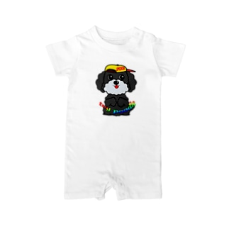 オリジナルデザインTシャツ SMOKIN'のちんちんトイプードル Baby rompers