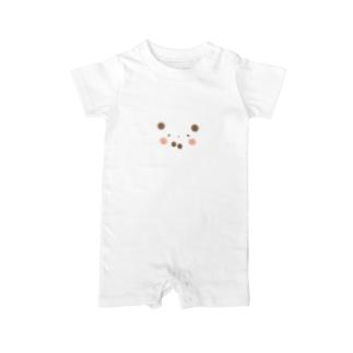シルエットパンダ (輪郭なしの作品) Baby Rompers