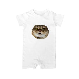 猫ネコショップの猫ネコ(顔) Baby Rompers