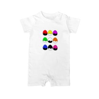 たまご型にペンキかかった(9色) Baby Rompers
