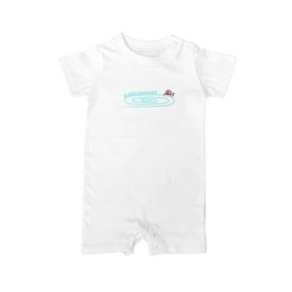 かたつむりTシャツ(文字水色) Baby rompers
