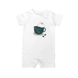 コーヒーカップ文鳥☕  (文鳥の日 2021記念) Baby Rompers