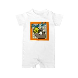 サルのポイントゲット Baby rompers