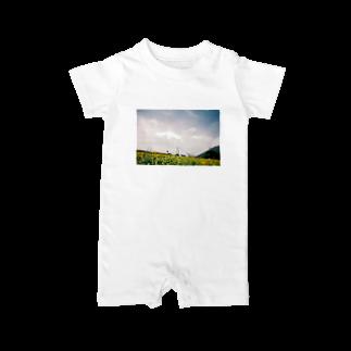 ピザたべたいの鹿児島県の開聞岳とひまわり畑 Baby rompers