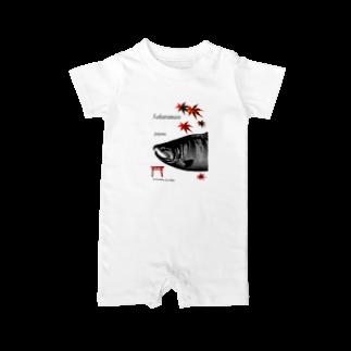 G-HERRING(鰊;鮭;Tenkara;SALMON)のサクラマス 産卵期(婚姻色 モノクロ) Baby rompers