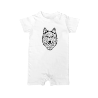 一匹オオカミ(ウルフフェイス) Baby rompers