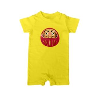あなたはだるまに見張られているTシャツ Baby rompers