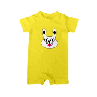 WHITE BUNNY 002 てへぺろ Baby rompers