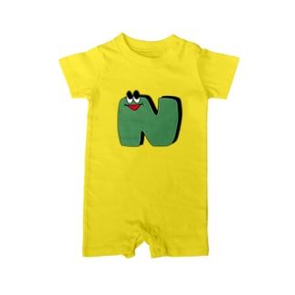 アルファベットくんシリーズ 「N」 Baby rompers
