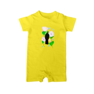 Lily bird(リリーバード)の見返り美鳥(ギニアエボシドリ)と花① Baby rompers