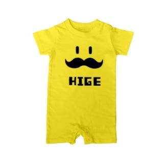 ヒゲHIGE(黒) Baby rompers