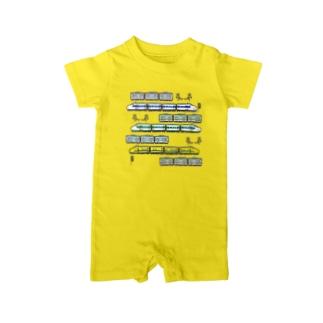 竜の工房・翔 -SUZURI SHOP-の電車いろいろ集合 Baby Rompers