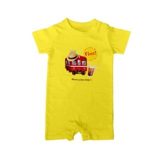 赤い電車 「 Fine ! 」 Baby Rompers