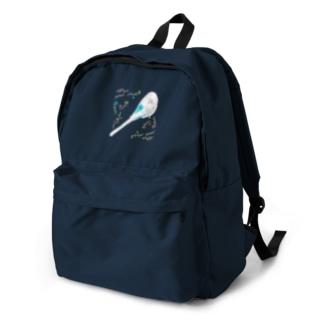 ぐっすりインコと草花 backpack