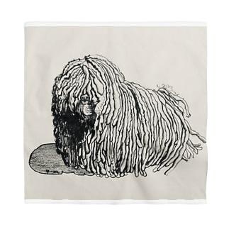 かしこいプーリー犬。ぷりぷり鉛筆画 Bandana
