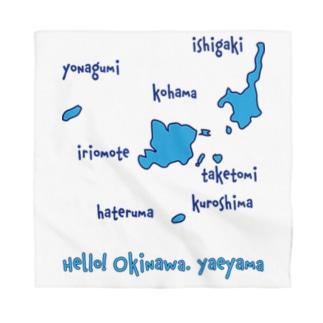 八重山地図 水色 [Hello!Okinawa] Bandana